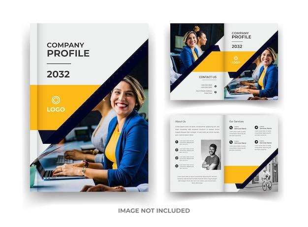 Zwart en geel 04 pagina's zakelijke brochureontwerp en jaarverslag en tijdschriftsjabloon