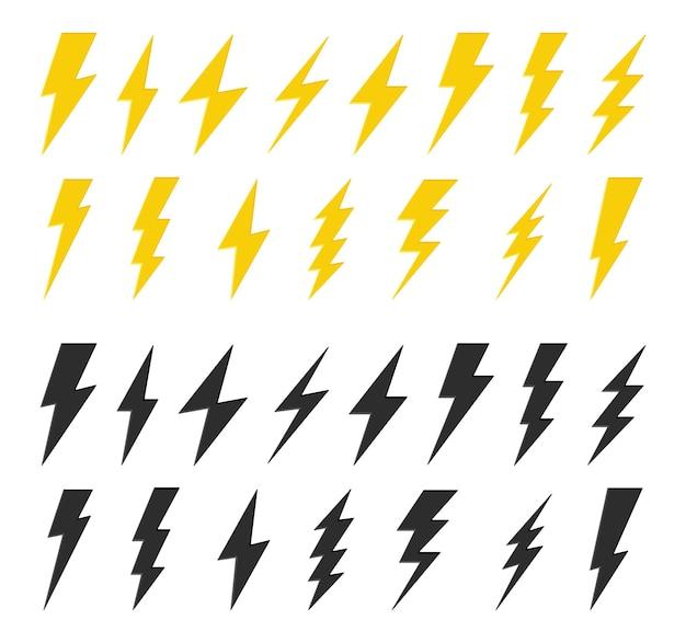 Zwart en geel bliksemschicht Premium Vector