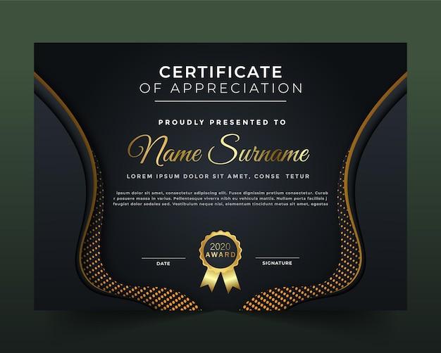 Zwart en geel certificaat en diplomasjabloon
