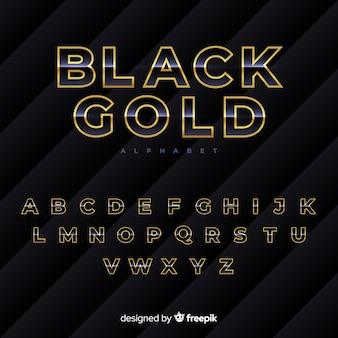 Zwart en goud alfabet