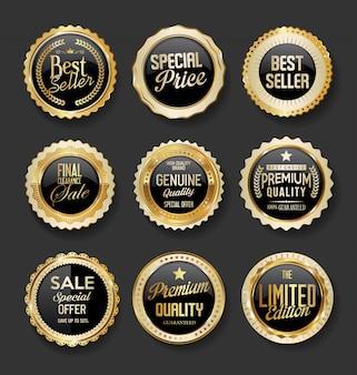 Zwart en goud badges illustratie super verkoop collectie