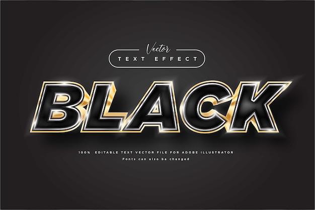 Zwart en goud bewerkbaar luxe teksteffect voor flyers, poster en advertenties
