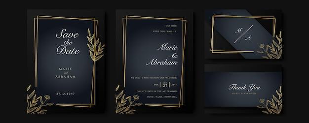 Zwart en goud bruiloft uitnodiging sjabloon set. abstracte bloemenontwerpreeks als achtergrond. luxe moderne stijl behang met kunstbloem en botanische bladeren, organische vormen