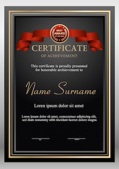 Zwart en goud certificaat ontwerpsjabloon met bage award