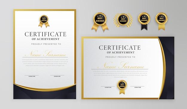 Zwart en goud certificaat van prestatie grens met luxe badge en moderne regelsjabloon