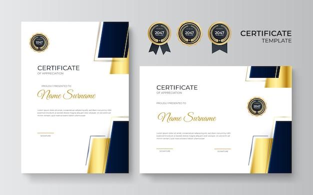 Zwart en goud certificaat van prestatie-sjabloon met gouden badge en rand. certificaatsjabloon met gouden decoratie-element. ontwerp diploma afstuderen, prijs. vector illustratie