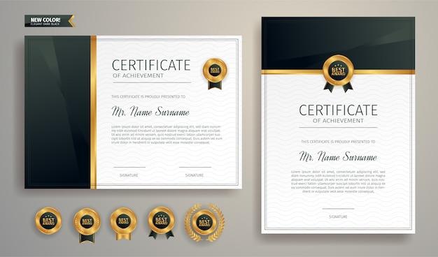 Zwart en goud certificaat van waardering grens sjabloon met luxe badge en modern lijnpatroon