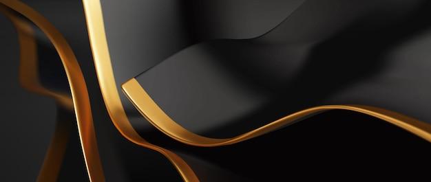 Zwart en goud golvende luxe achtergrond