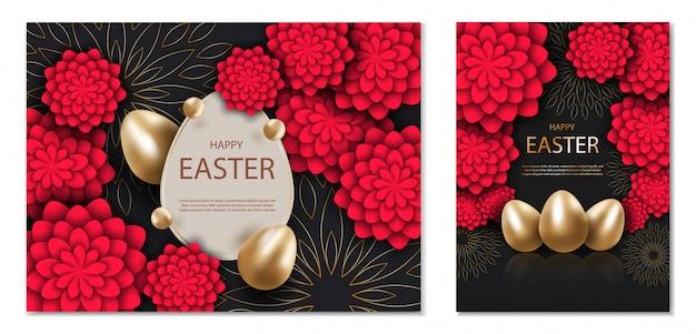 Zwart en goud happy easter achtergrond, met rode 3d-bloemen.