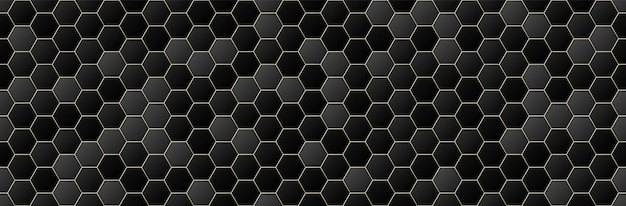 Zwart en goud kleurovergang zeshoek naadloze patroon achtergrond, geometrische, minimale ontwerpstijl