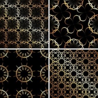 Zwart en goud luxe patroon.