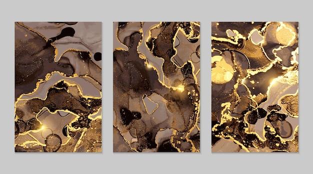 Zwart en goud marmeren abstracte texturen