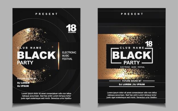 Zwart en goud nacht dansfeest muziek flyer of posterontwerp