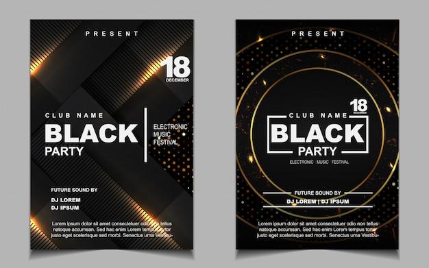Zwart en goud night dance party muziek flyer of posterontwerp