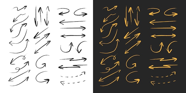Zwart en goud pijl penseel potlood lijn collectie set