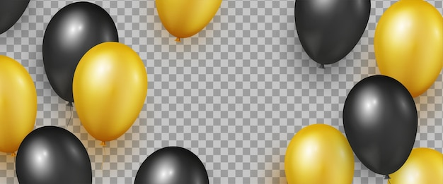 Zwart en goud realistische glanzende ballonnen voor black friday sale-banners