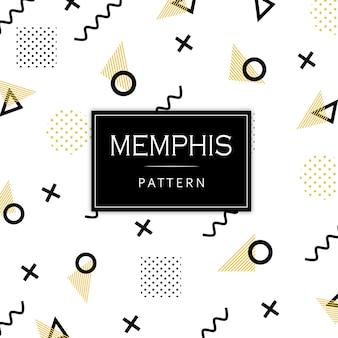 Zwart en gouden geometrische patroon van memphis