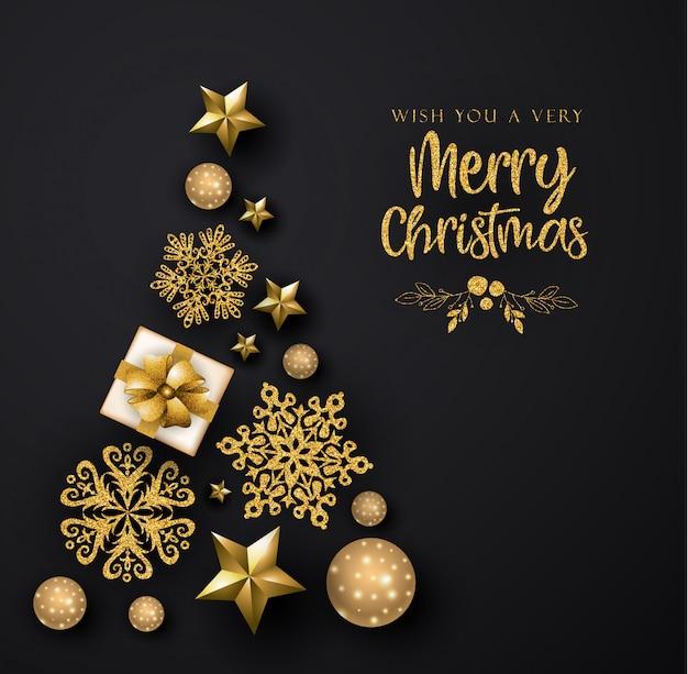 Zwart en gouden merry christmas wenskaart