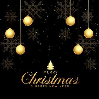 Zwart en gouden vrolijk kerstmisgroetontwerp als achtergrond