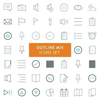 Zwart en grijs overzicht mix icons set