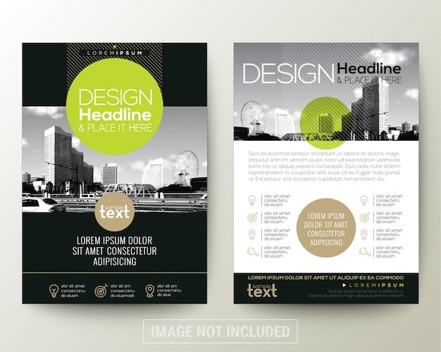 Zwart en groen de folder van de affichevlieger brochure