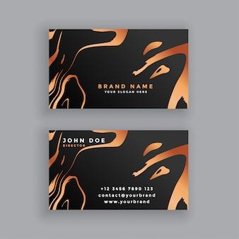 Zwart en koperen visitekaartje ontwerp
