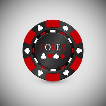 Zwart en rood casino chip-pictogram. casino-chip