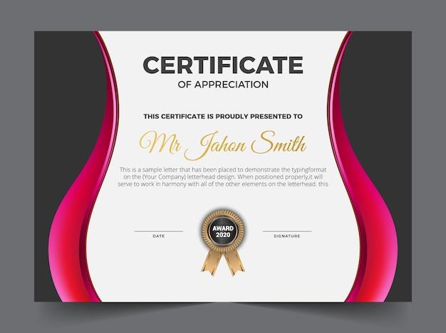 Zwart en roze certificaat van waardering sjabloon