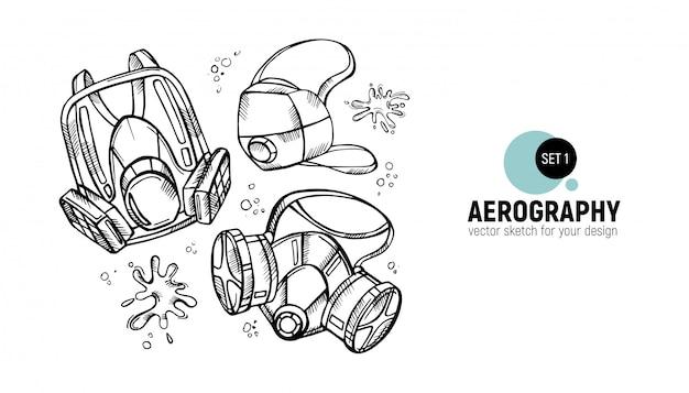 Zwart en wit aerography tools