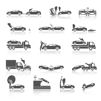 Zwart en wit auto crash pictogrammen