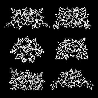 Zwart en wit bloem snijden ontwerp