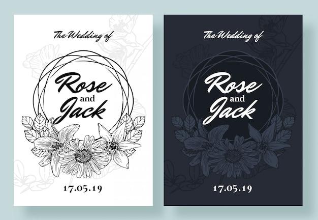 Zwart en wit bloemenuitnodiging