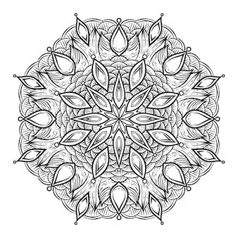 Zwart en wit cirkelvormig patroon. ronde caleidoscoop