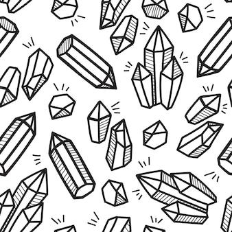 Zwart en wit crystal boho hand getrokken patroon