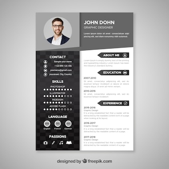 Zwart en wit CV-sjabloon