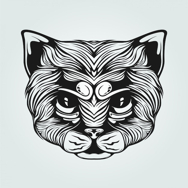 Zwart en wit decoratief kattengezicht