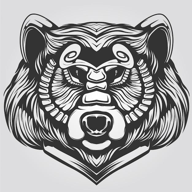 Zwart en wit decoratieve beer lijntekeningen
