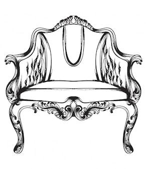 Zwart en wit. doodle rich barokke fauteuil
