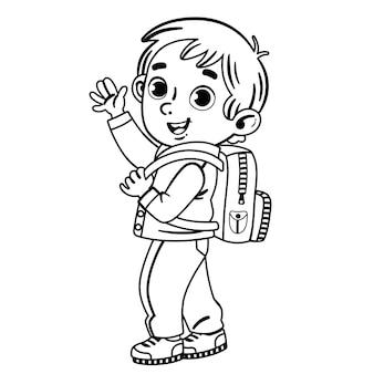 Zwart en wit een kleine jongen met een rugzak kijkt ons aan en zwaait met zijn hand en glimlacht