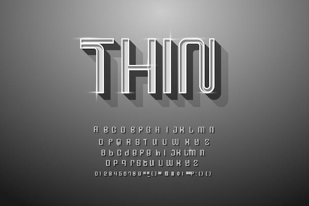 Zwart en wit eenvoudig dun alfabet met schaduw