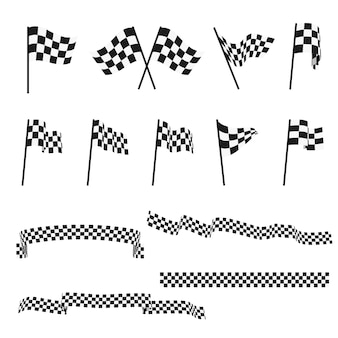 Zwart en wit geruit auto racing vlaggen en afwerking tape vector set