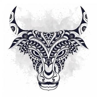 Zwart en wit gestileerde koe in etnische stylevector