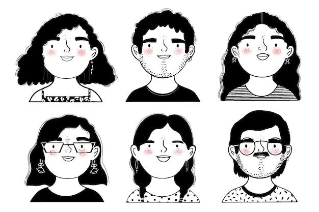 Zwart en wit gezichten van mensen