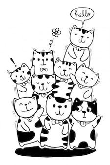 Zwart en wit hand tekenen, kat tekens stijl doodles illustratie kleuren voor kinderen.