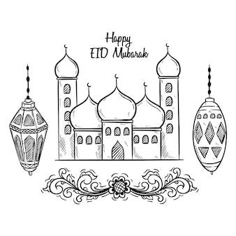Zwart en wit happy eid mubarak met moskee en lantaarn
