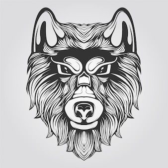Zwart en wit harig wolvenhoofd