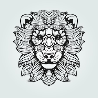 Zwart en wit leeuw lijntekeningen