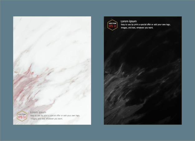 Zwart en wit marmeren imitatie dekking achtergrond vector set