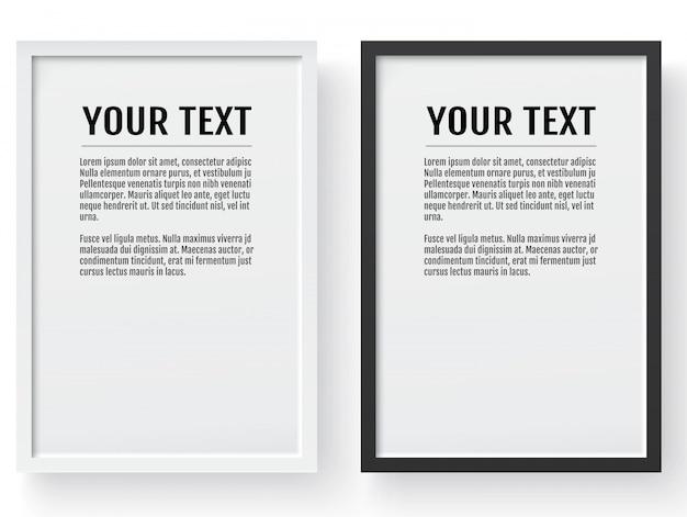 Zwart en wit modern frame, verticale mockup.