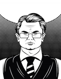 Zwart en wit portret van een zakenman in glazen